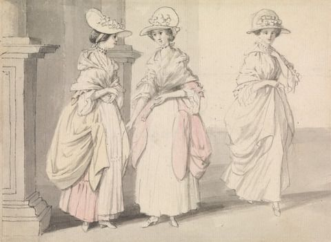 Three Ladies Standing on a Terrace. Watercolor by James Roberts, active 1766–1809. Yale Center for British Art, B1975.4.513