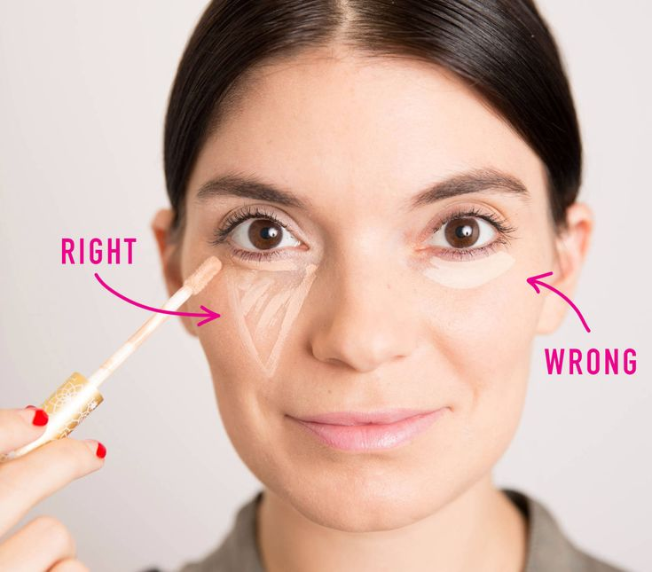 7. The most flattering way to apply concealer is to draw a triangle with the base under your eye and the point toward your cheek.  This shape not only conceals dark circles, but it also instantly creates the illusion that your face is lifted. Think of it as holding a flashlight against your cheek, shining the light right underneath your eye, and drawing the focus upward.