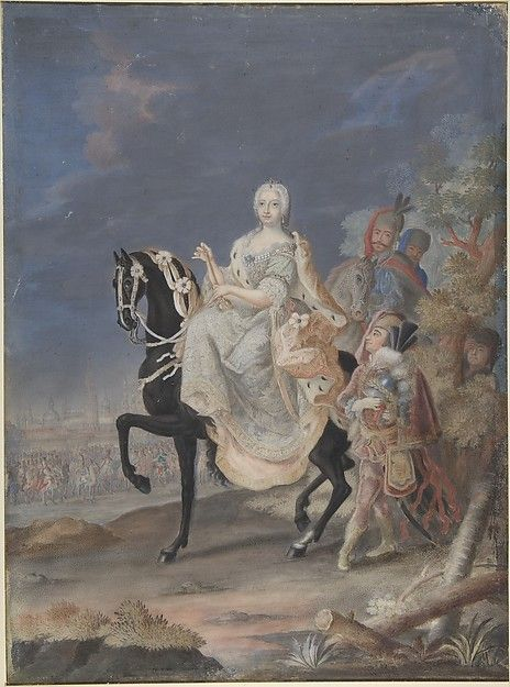 Anonymous, French, 18th century | Portrait of a Russian Empress on horseback by Anonymous, French, 18th century  IT IS Empress Marie Theresie (of Austria)