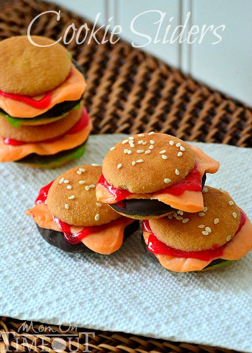 DIY: Cookie Sliders That Look Just Like Mini Cheeseburgers...because everything is ready made, they are fast to put together. Very cute, love this for a kids party!
