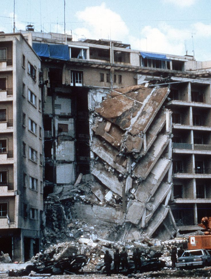 The 1983 US embassy terror bomb. Beirut, Lebanon.