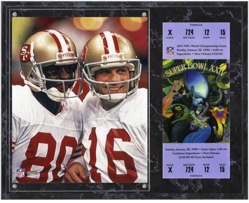 San Francisco 49ers Super Bowl XXIV Joe Montana/Jerry Rice Plaques with Replica Ticket - Fanatics Authentic Certified