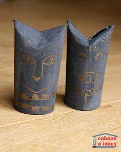 Chats égyptiens (à partir de tube de papier toilette)