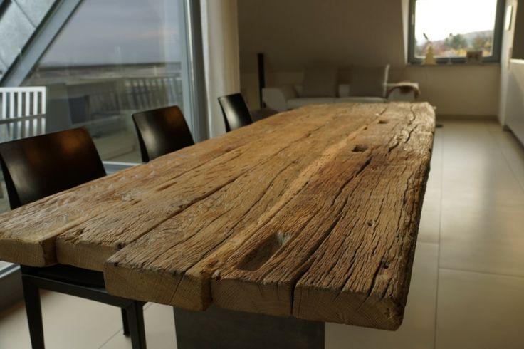 Esstisch massive Holzplatte Eiche