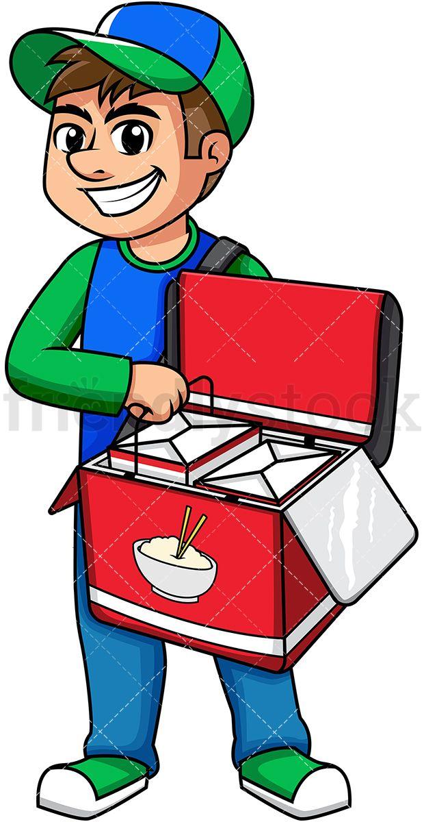 Man Delivering Chinese Food Cartoon Vector Clipart Friendlystock Food Cartoon Asian Food Delivery Cartoons Vector