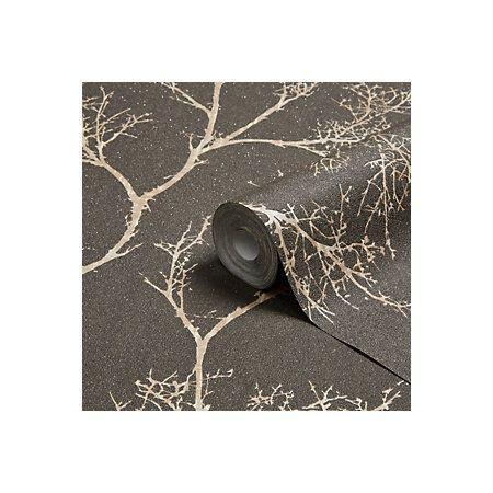Graham & Brown Brown & Gold Icy Trees Wallpaper | Departments | DIY at B&Q