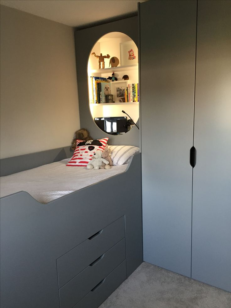 Unique Beautiful bespoke cabin bed with wardrobe drawers and lit shelving unit made by Little Green