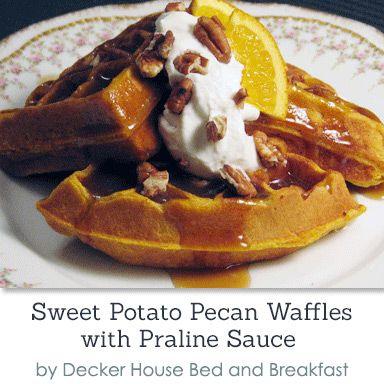 Sweet Potato Pecan Waffles with Praline Sauce at Decker ...