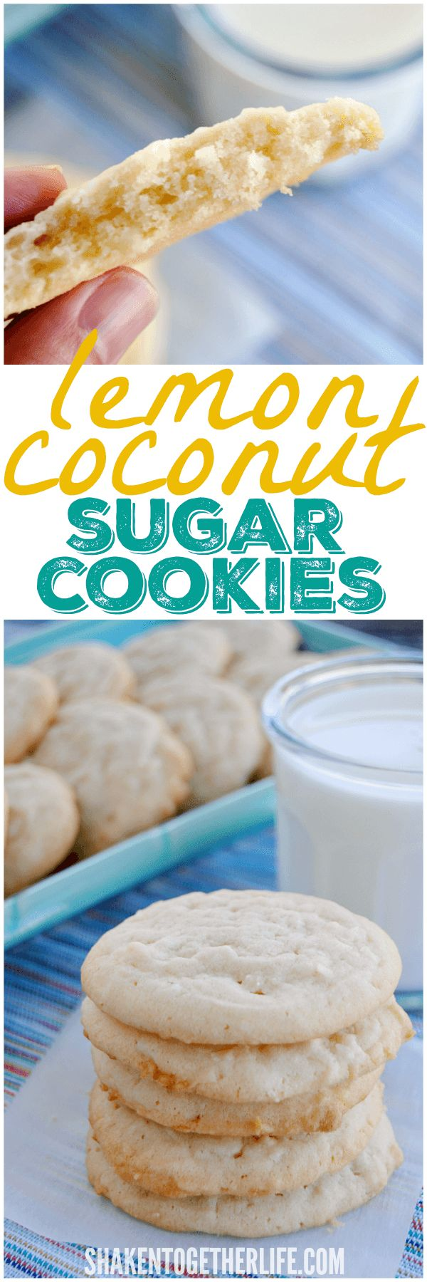 Lemon Coconut Sugar Cookies! One bowl, no dough to roll out ... just stir, scoop and bake!