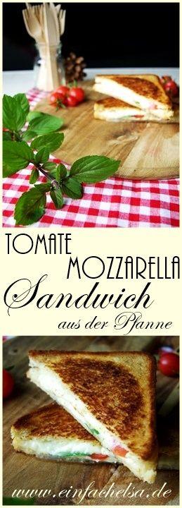 Tomate Mozzarella Sandwich aus der Pfanne - Toast in der Pfanne - schneller Snack Imbiss