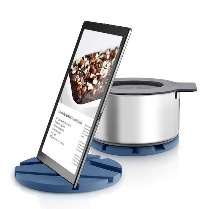 The Eva Solo smart mat is both a tablet and phone stand along with a trivet for your kitchen bench or dining table. The various slices allow for a variety of angles and positions.