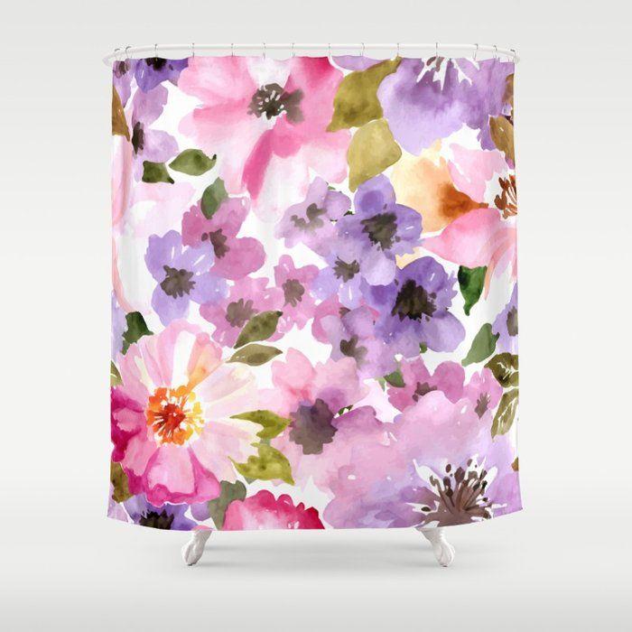 Pink Purple Watercolor Flowers Shower Curtain Flower Shower Curtain Purple Watercolor Watercolor Flowers