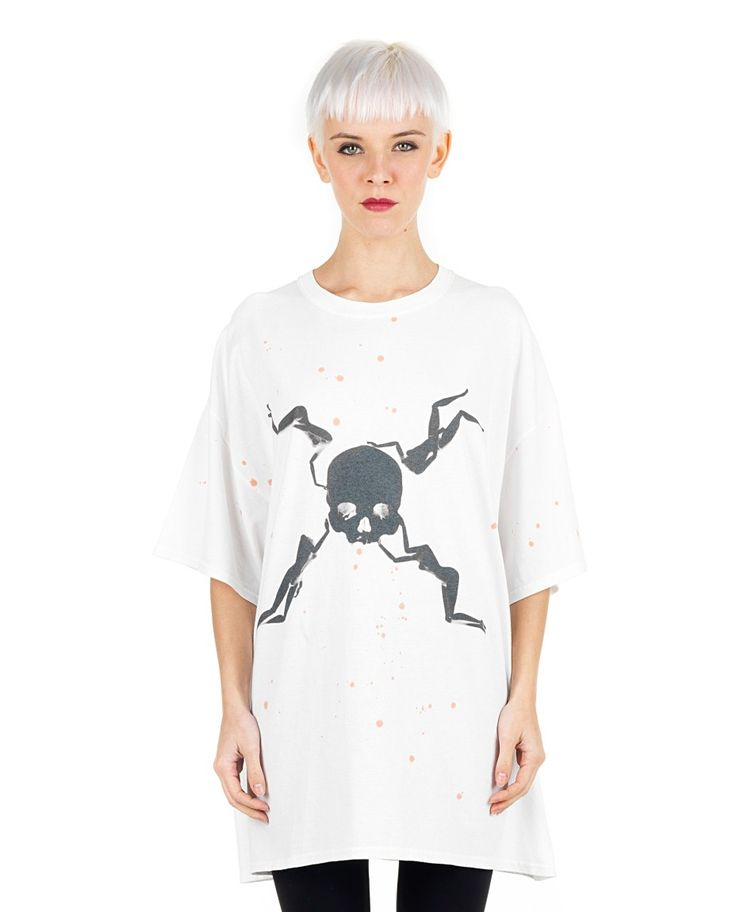 SIL White oversize T-shirt  Pirates/Dexter print round neckline short sleeves back logo decoration 100% CO