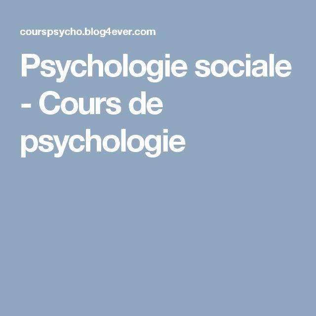 Psychologie sociale - Cours de psychologie