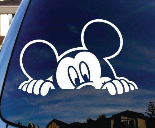 Mickey Mouse Peeking Car Window Vinyl Decal Sticker
