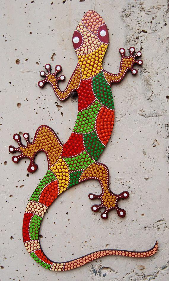 Lizard Gecko G-07. Animal mdf painted/ dot art/ handmade/ home decor/Decorative…