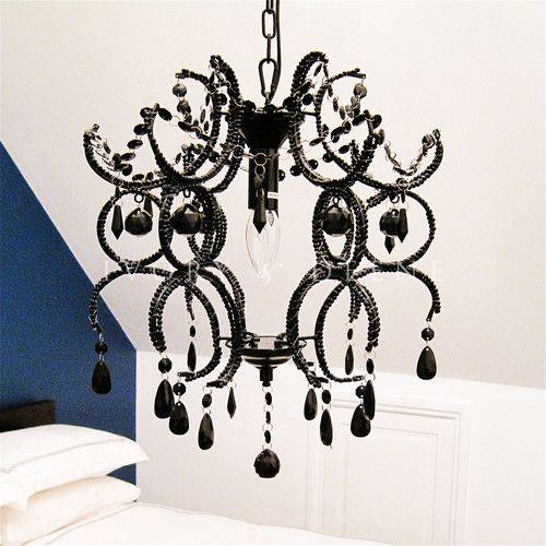 Ivory & Deene Jewel Shabby 1 Light Chandelier All Black