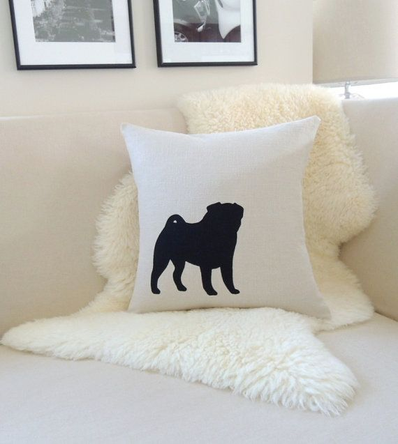 Pug Pillow Cover Flax & Black Pug Dog Appliqué by VixenGoods   I guess I have found a birthday gift for Ivana!