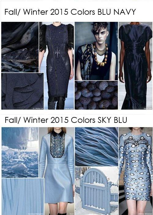 Pallet Key colors Fall-Winter 2015-2016 women fashion trend Apparel sky and navy  ----- Tavolozza colori principali donna tendenze stagione Autunno-Inverno 2015-2016 Abbigliamento azzurro chiaro e blu scuro