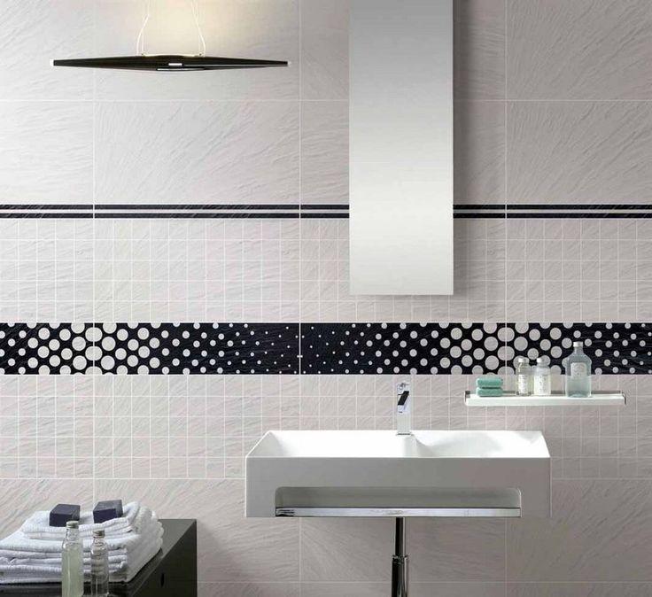 revêtement-mural-salle-bain-carrelage-grand-format-blanc-cassé-frise-pois