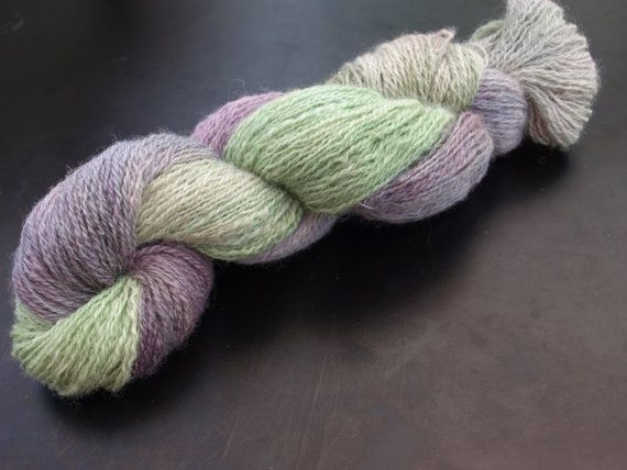 Lavender garden- hand spun, hand dyed yarn. 100% wool.  This hand painted yarn is available on Etsy!