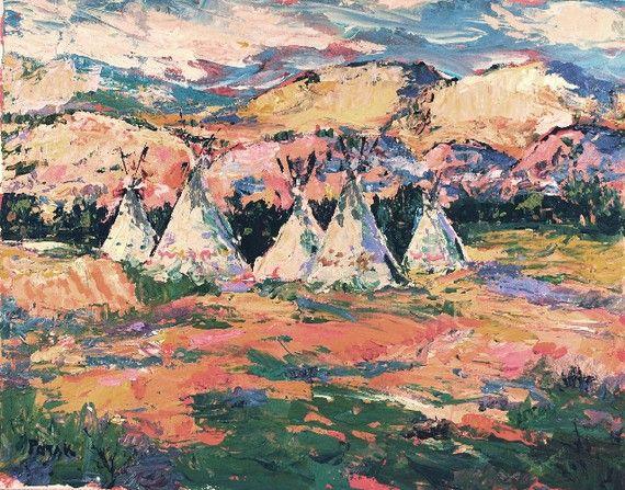 Southwest Artwork Native American Teepee, Original Southwest Art, western painting Colorado area