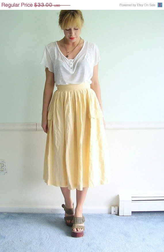 Summer Squash Vintage High Waist Calf Length Irish Linen Skirt.