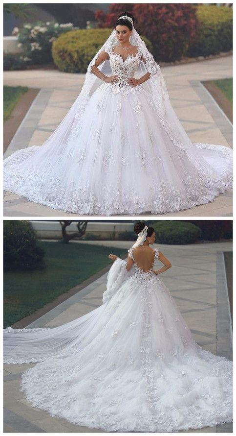 Vestidos de Novia Horny See Via Bodice Marriage ceremony Gown Royal Tail Flowers Luxurious Marriage ceremony Robes Bride Clothes Bruidsjurken
