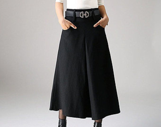 schwarzer Rock, Taschen Röcke, Faltenrock, Maxi-Rock, Rock aus Wolle, Damen Röcke, eine Linie Rock, Winterrock, warm Rock, Handmde (1084)