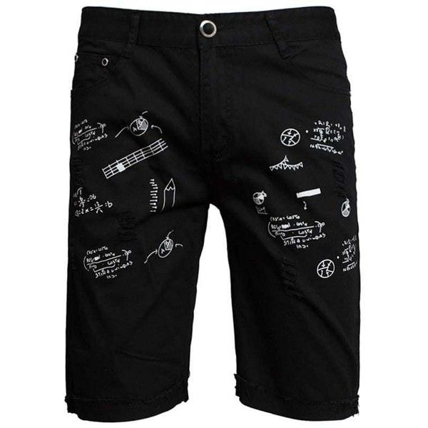 Zip Fly Scrawl Print Shorts ($13) ❤ liked on Polyvore featuring men's fashion, men's clothing, men's shorts, aztec print mens clothing, mens animal print shorts, mens zipper pocket shorts and mens patterned shorts