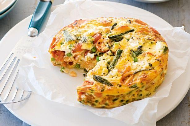 Asparagus, cherry tomato and ricotta frittata (Australian Good Taste magazine)