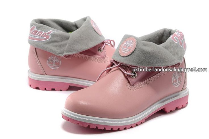 UK Timberland Women Roll-Top Waterproof Boots Baby-Pink and White £ 67.19