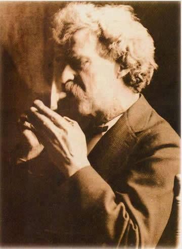 Mark Twain smoking cigar.