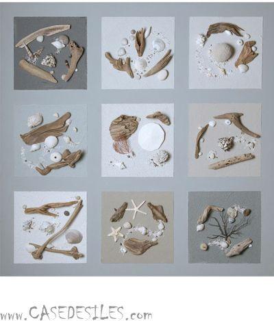 Tableau relief bois flotte au Meilleur Prix : Tableau relief galet bois flotté 100cm Cendre2