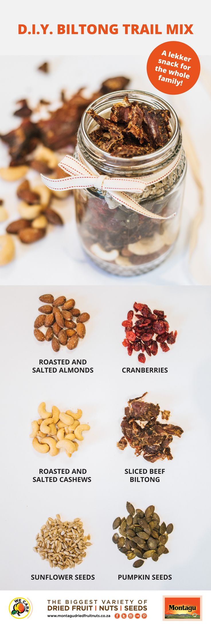 Saturday sport just wouldn't be the same without a lekker biltong snack, right? Ditch the chip 'n dip and get your salty fix with this yummy, healthy DIY biltong trail mix! It's super easy to create, and you'll find all the ingredients at your nearest Montagu store.