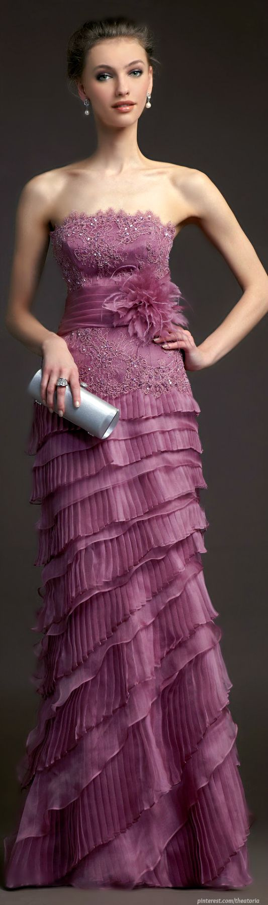 Her head looks photoshopped on. Ignore that and pay attention to the dress and clutch.  2014 New Purple Lace Tiered Formal Long Evening Dresses Gowns with Jacket (CL169)