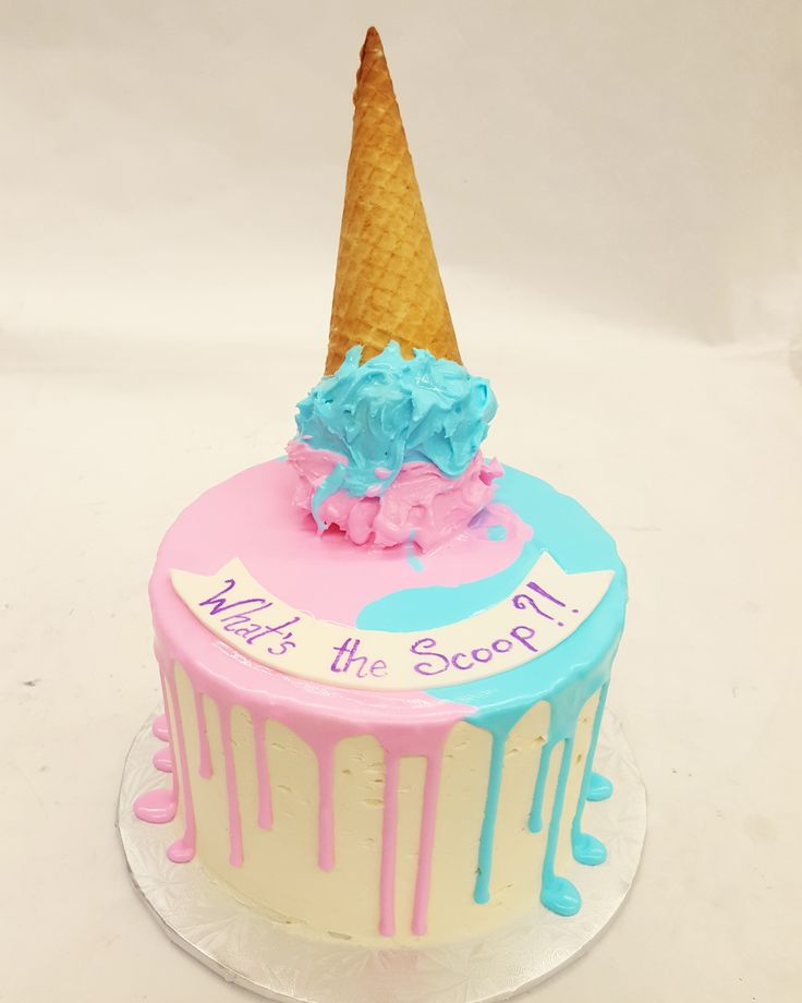 An ice cream themed gender reveal cake. What's the Scoop?!
