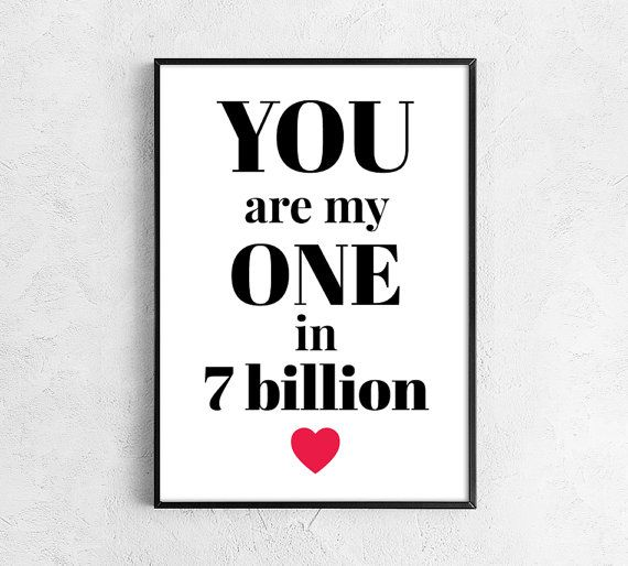 Love print Valentines day for him Love print Valentine print You are my one for boyfriend black white red
