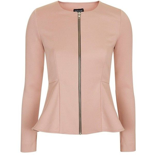 Women's Topshop Tailored Peplum Jacket (120 SGD) ❤ liked on Polyvore featuring outerwear, jackets, blazers, tops, topshop, pink blazer jacket, peplum blazer, peplum jacket, collarless jacket and flare jacket