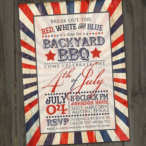 Antique Fourth of July Invitation Fourth of July by partymonkey
