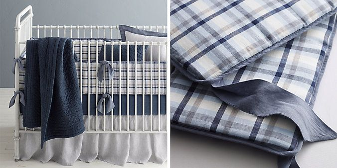 Nursery: Washed Linen Plaid Nursery Bedding Collection | Restoration Hardware Baby & Child