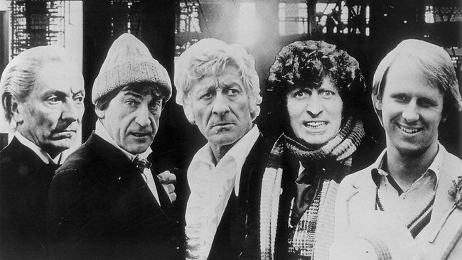 The first five actors who played the Doctor in Dr Who. L-R, William Hartnell, Patrick Troughton, Jon Pertwee, Tom Baker and Peter Davison. Source: Supplied