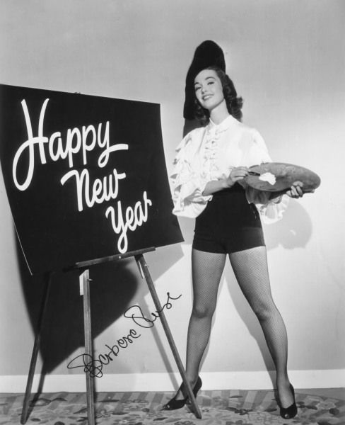 Happy 1950s New Year's wishes from Barbara Rush.