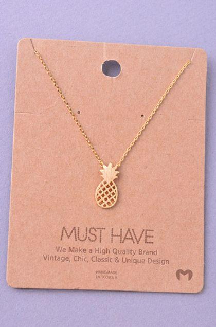 Pinterest: @1jasminedesiree I Pineapple Pendant Necklace - Gold