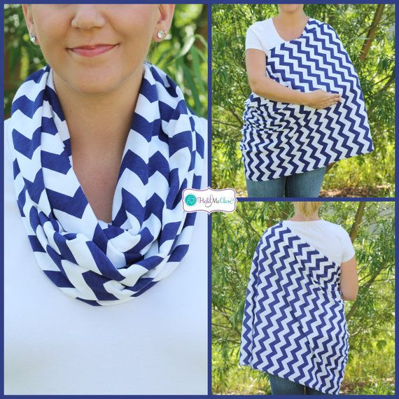 Navy Blueberry Chevron Hold Me Close Nursing Scarf, Nursing Cover, Infinity Nursing Scarf
