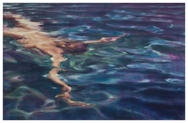 This is the unbelievable talent of Sarah Ballam - this is a work in oil on canvass. I myself own a work and find it had to imagine that the woman in the water is not actually in my lounge. AMAIZING ' eye'
