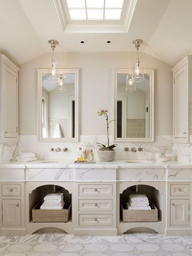 Pretty Master Bath with dual sinks, skylight and great details - by Palo Alto Dutch Colonial Revival by ScavulloDesign Interiors
