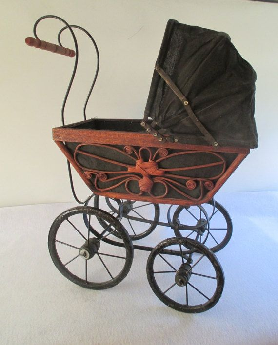 Doll Buggy Vintage Decorative Wicker Victorian Pram