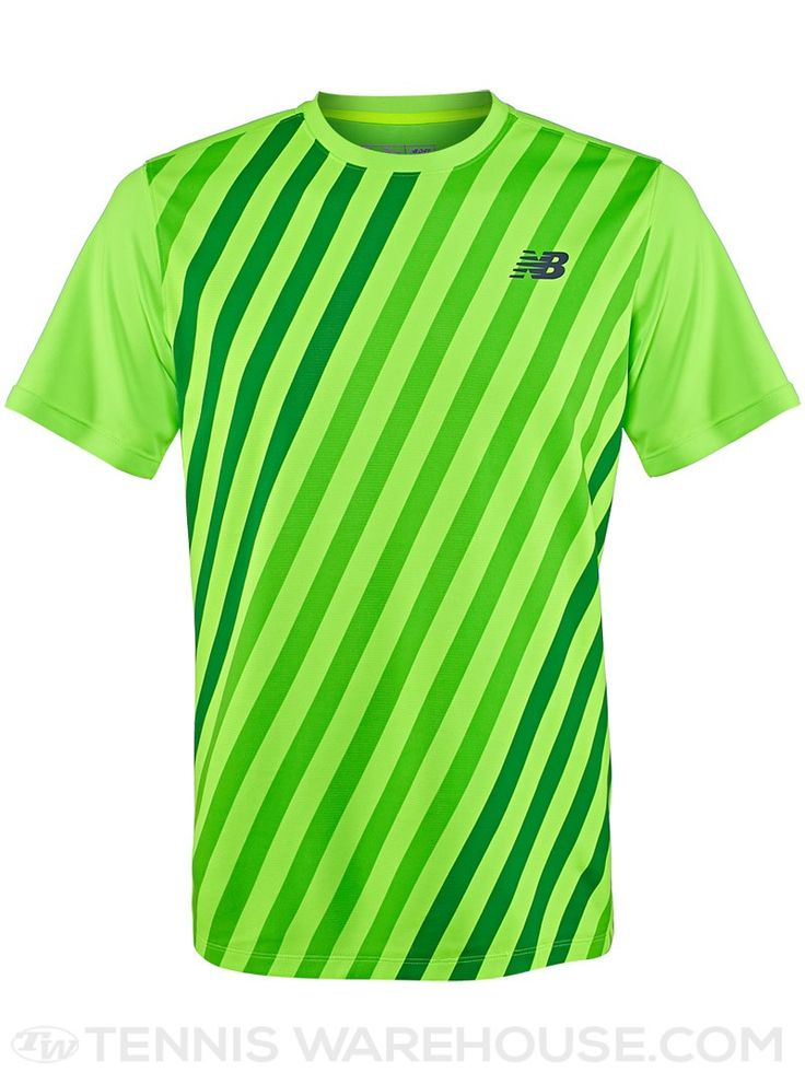 New Balance Men's Spring Challenger Tennis Crew (Green Stripe) · Posh  ClothingTennis ...