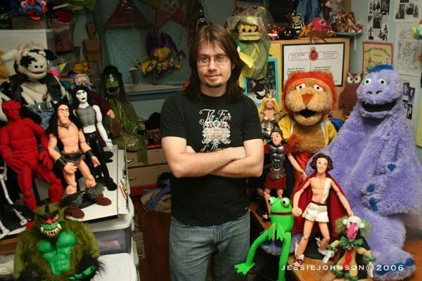 In the puppet workshop with some of the gang in 2006.